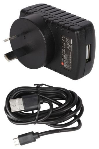 2.4 Amp Micro USB AC Mains Charger Black Detachable Cable