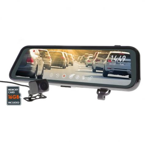 9.35 Inch Mirror Monitor With HD Front & Rear Dual Dash Cam With Reverse Camera Function