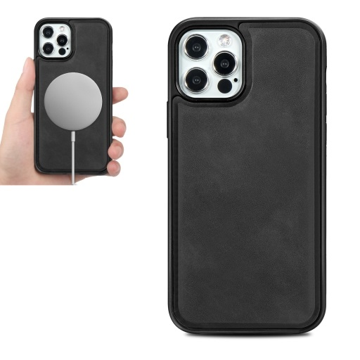 Magsafe TPU Case With Leather Surface For iPhone 12 And iPhone 12 Pro Black