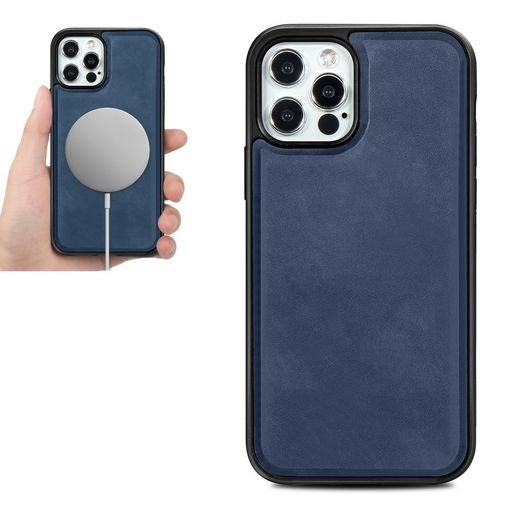 Magsafe TPU Case With Leather Surface For iPhone 12 And iPhone 12 Pro Blue
