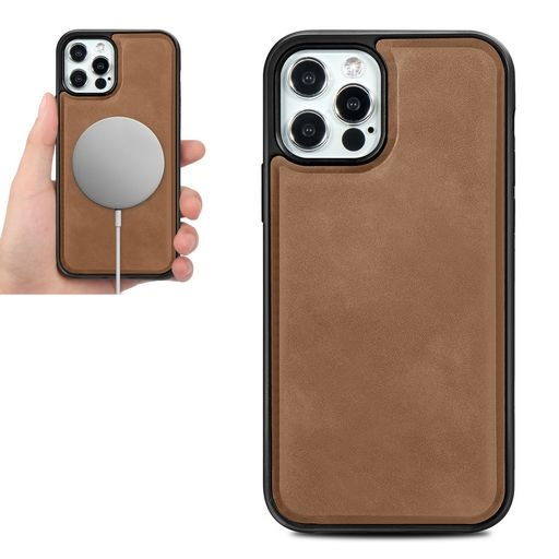 Magsafe TPU Case With Leather Surface For iPhone 12 And iPhone 12 Pro Brown