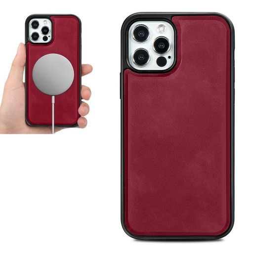 Magsafe TPU Case With Leather Surface For iPhone 12 And iPhone 12 Pro Red
