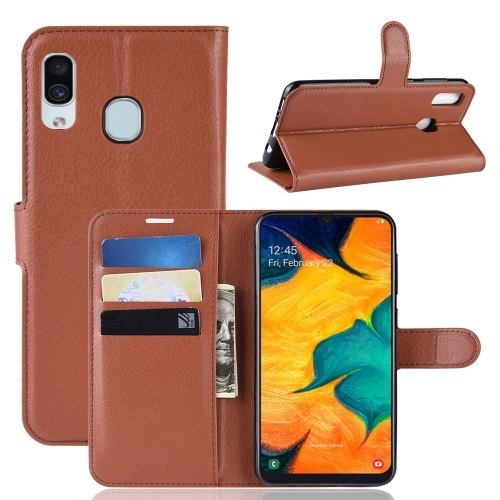 Samsung Galaxy A20 PU Leather Case Brown